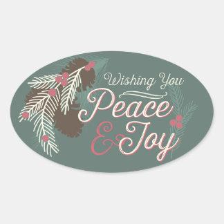 Pinecone Peace & Joy Holiday Stickers