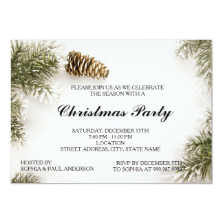 Pinecones and Christmas Tree Leaves Invitation