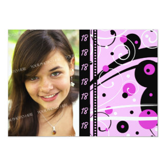 Pink 18th Birthday Party Photo Invitation Cards