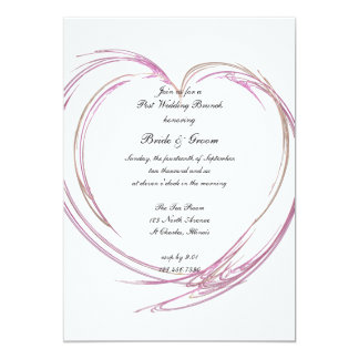 Pink Abstract Heart Post Wedding Brunch Invitation