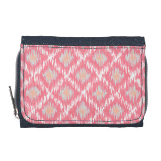 Pink Abstract Tribal Ikat Chevron Diamond Pattern Wallet