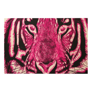 Pink Airbrush Siberian Tiger Fractal Wildlife Art Wood Canvases