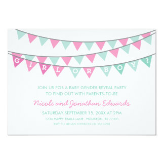 Pink and Aqua Bunting Baby Gender Reveal Party 13 Cm X 18 Cm Invitation Card