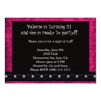 Pink and Black 21st Birthday Card