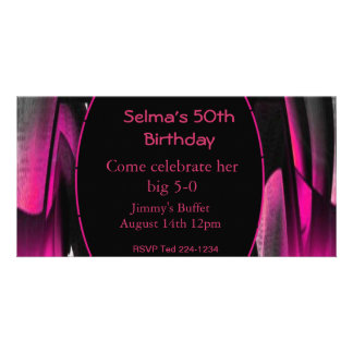 Pink and Black Abstract Personalised Photo Card