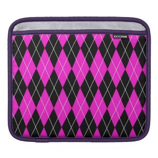 Pink and Black Argyle iPad Sleeve