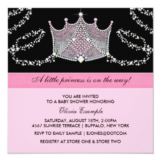 Pink and Black Baby Girl Princess Baby Shower Card