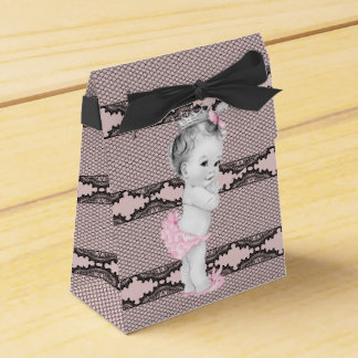 Pink and Black Baby Shower Favor Boxes Wedding Favour Box