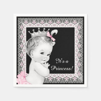 Pink and Black Baby Shower Paper Napkin