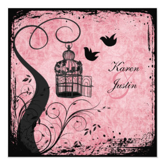 Pink and Black Birdcage Lovebirds on Linen Invite