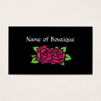 Pink And Black Boutique With Roses Business Card