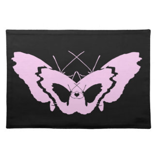 pink and black butterfly love nature romance placemat