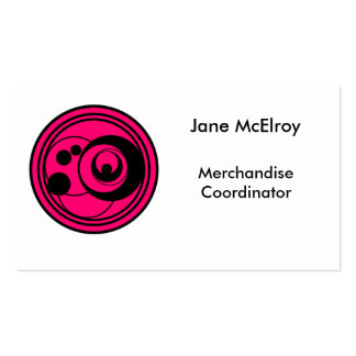 Pink and black circles design customize text boxes pack of standard business cards