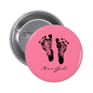 Pink and Black Cute Baby Footprints Its a Girl Pins