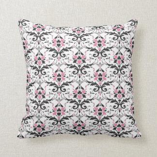 Pink and Black Damask Pattern Cushion