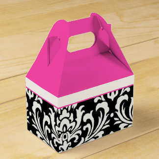 Pink and Black Damask Wedding Favour Boxes