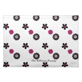 Pink and Black Funky Flowers Place Mat
