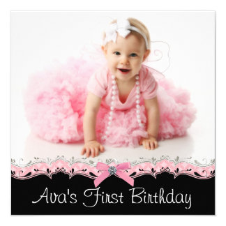 Pink and Black Girls Photo Birthday Party Card