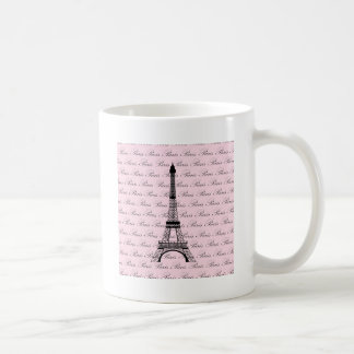 Pink and Black Paris Eiffel Tower Coffee Mug