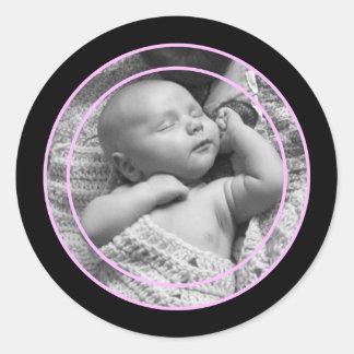 Pink and Black Photo Frame Round Sticker