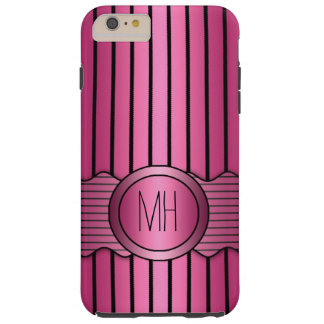Pink and Black Pinstripes Pattern Tough iPhone 6 Plus Case