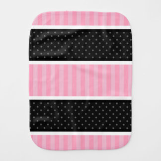 Pink and Black Polka Dot Stripes Pattern Burp Cloth