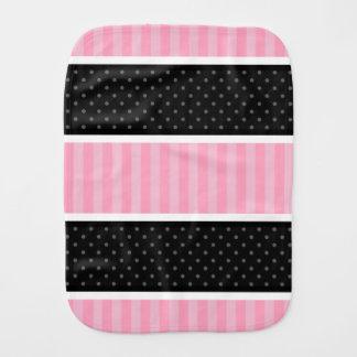 Pink and Black Polka Dot Stripes Pattern Burp Cloths