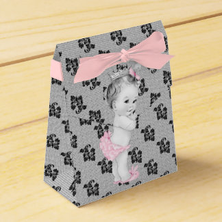 Pink and Black Princess Baby Shower Favor Boxes Favour Box