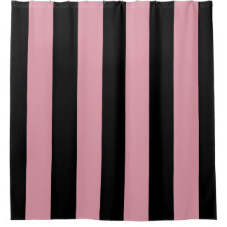 Pink and Black Stripes Shower Curtain