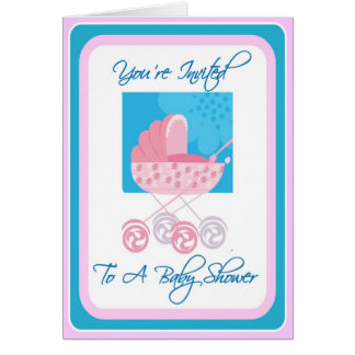 Pink and Blue Baby Shower Invitation Greeting Card