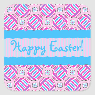 Pink and Blue Colorful Easter Eggs and Flowers Square Sticker
