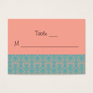 Pink and Blue Damask Place Cards