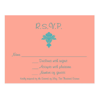 Pink and Blue Damask RSVP Postcard