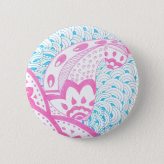 pink and blue doodle 6 cm round badge