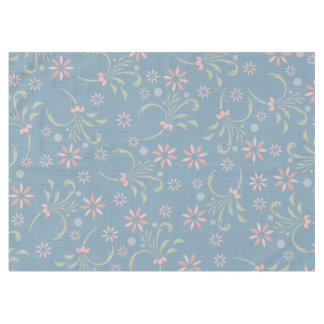 Pink and Blue Floral Patterned Tablecloth