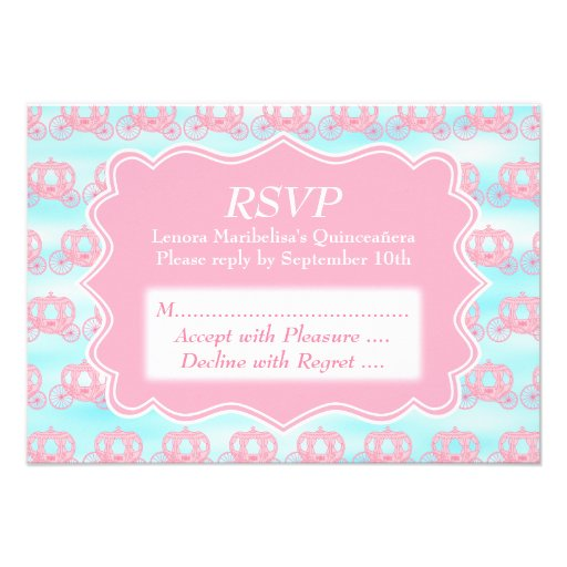 Pink and Blue Pastel Carriages Quinceanera Custom Announcement