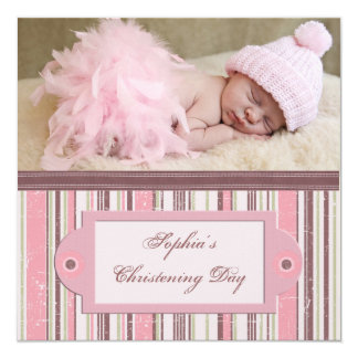 Pink and Brown Christening Card