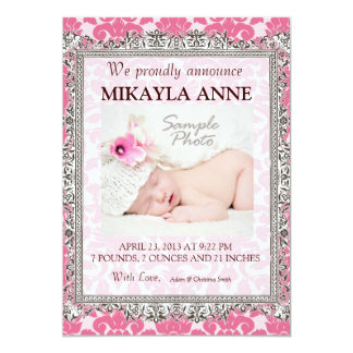 Pink and Brown Damask Birth Announcement