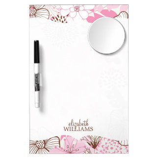 Pink and Brown Floral Pattern Dry Erase Board With Mirror