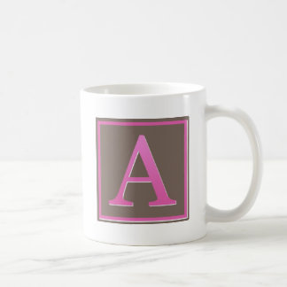 Pink and Brown Letter A Monogram Coffee Mug