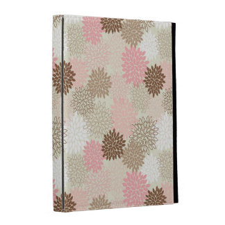 Pink And Brown Mum Pattern iPad Folio Cover