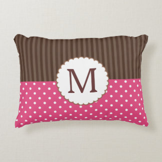 Pink And Brown Polka Dots Stripes Monogram Decorative Cushion