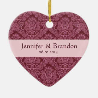 PINK and BURGUNDY Damask Wedding Ornament