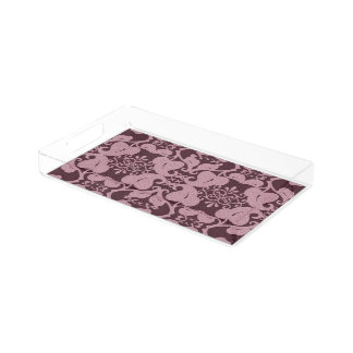 Pink And Burgundy Modern Elegant Leaf Pattern Acrylic Tray