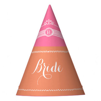 Pink and Coral Bride party hat