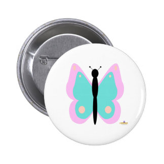 Pink And Cyan Butterfly 6 Cm Round Badge