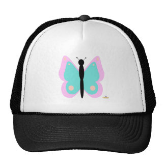 Pink And Cyan Butterfly Cap