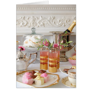 Pink and Gold Birthday Card, English Tea, Cake Card