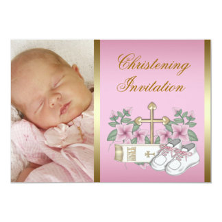 Pink and Gold Christening Card