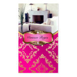 Pink and Gold Damask Photo Business Card